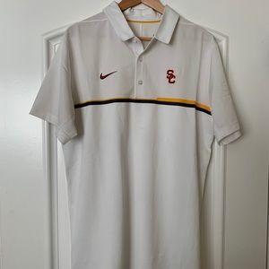 Nike White USC Trojans Polo Dri-fit